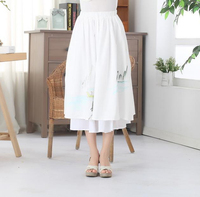 High Quality Chinese Vintage Style Women S Long Pleated Skirt Printed Floral Cotton Linen Skirt Brand