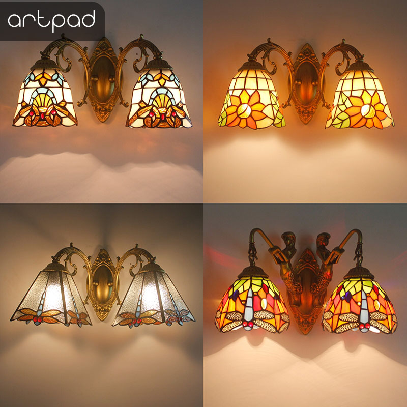 Artpad Nordic Romantic Colorful Glass Lampshade Indoor Wall Lamp Bedroom Bedside Asile Turkish Bracket Light With