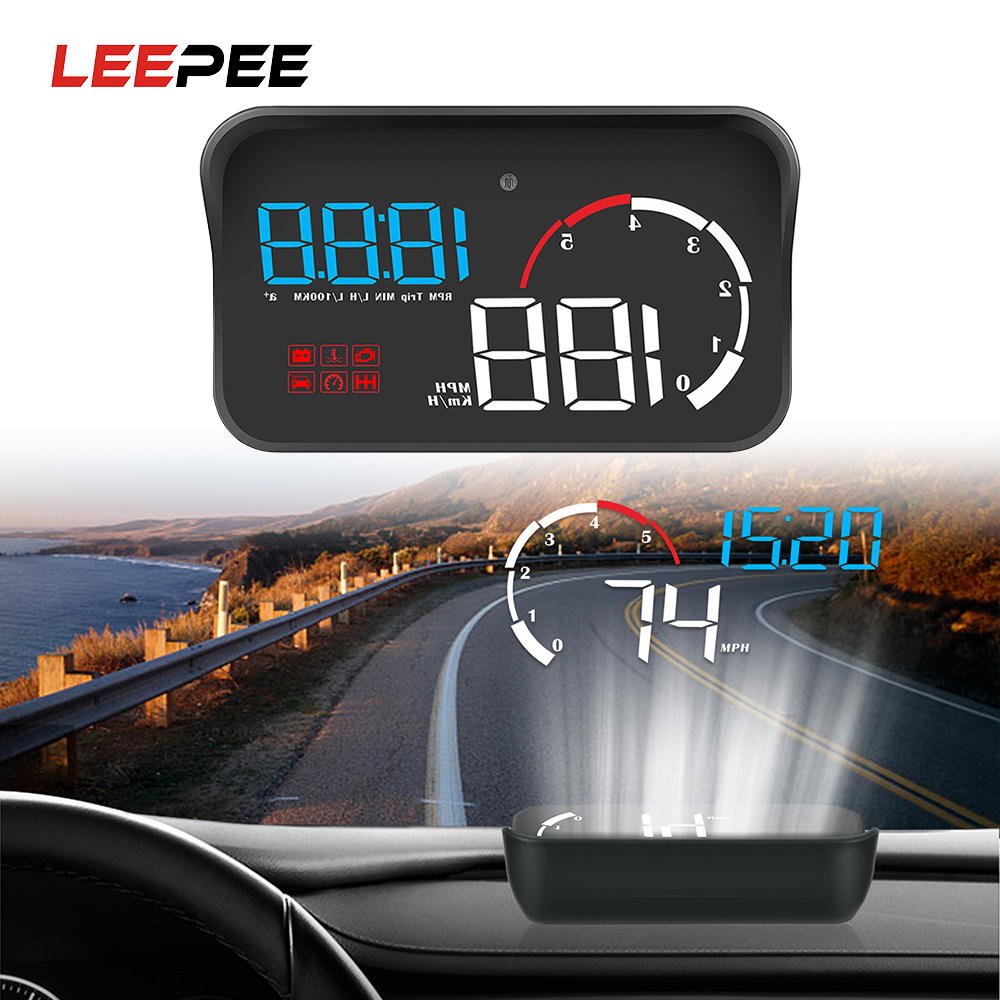 LEEPEE Intelligent Alarm System Car HUD Display OBD2 Overspeed Warning Multifunction M10 A100 Windshield Projector Universal