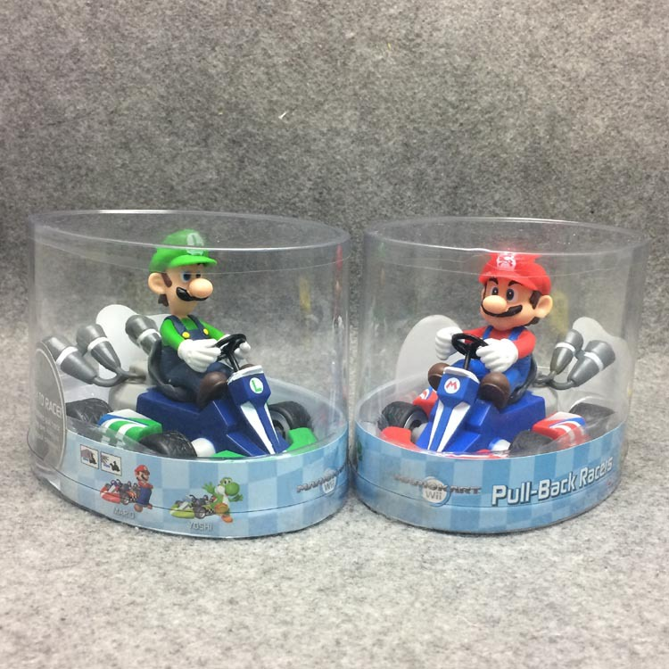 13Cm Japan Anime Super Mario Bros Figures Luigi Dinosaurs Donkey Kong Bowser Kart Pull Back Car PVC Figma Kids Toys for Boys