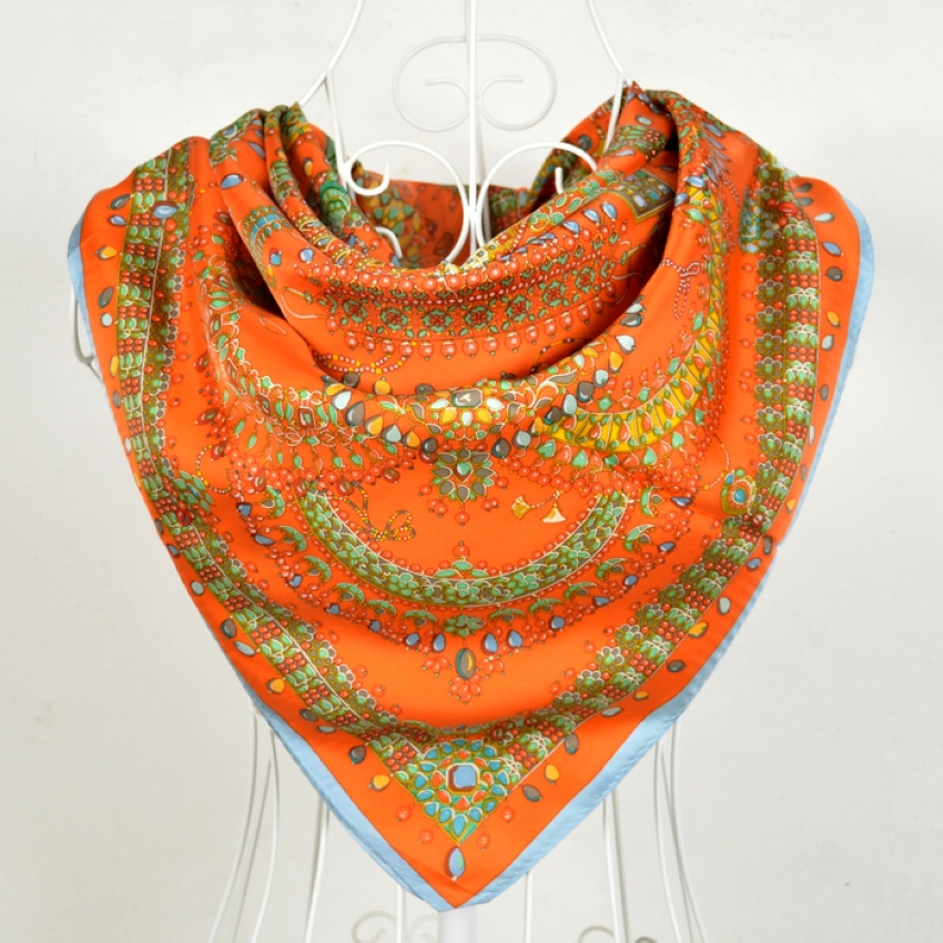 BYSIFA Women Silk Square   Scarves     Wraps   2018 New Brand Ladies Muslim Pure Silk Head   Scarf   Shawl Orange Twill Large Square   Scarves