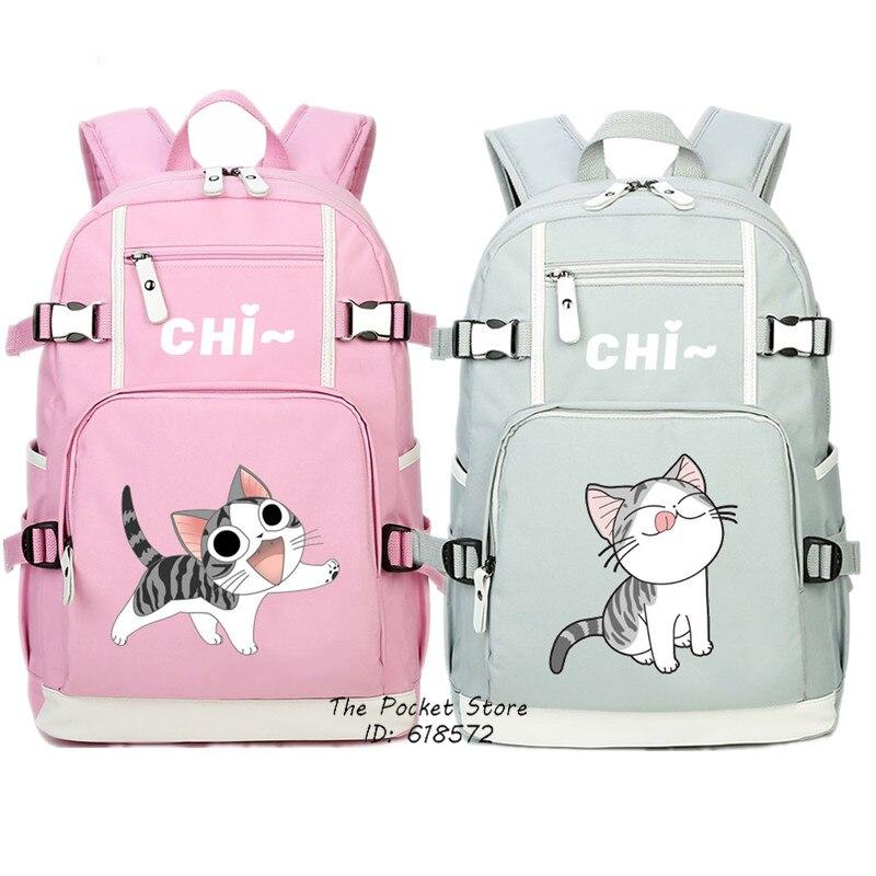 Kawaii chat femmes sac à dos Chi's Sweet Home mignon sac à dos Chi chat toile sacs d'école Mochila Feminina rose sac de voyage