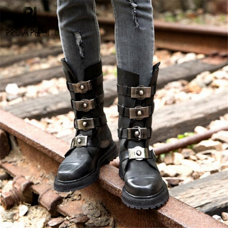 цена Prova Perfetto Black Punk Style Women Motorcycle Boots Straps Back Zipper Mid-calf Winter Boots Female Platform Botas Militares