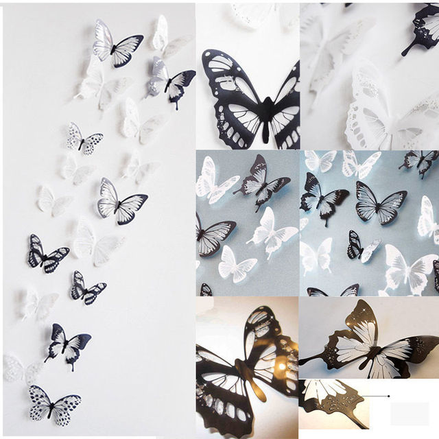 18 Pcs Hot Sale 3D Butterfly Crystal Transparent Decor Sticker Home  Decoration Accessories Wall Art For