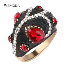 ФОТО personalized big ladybug pattern finger ring vintage bohemian jewelry unique red glass crystal antique gold rings for women gift