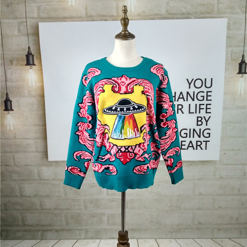 Women New vintage warm sweaters UFO Clouds Jacquard pullovers 2