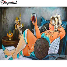 Dispaint Full Square/Round Drill 5D DIY Diamond Painting Fat woman Embroidery Cross Stitch 3D Home Decor A06072