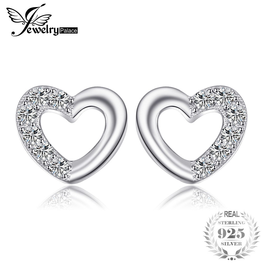 JewelryPalace Heart Love Round Cubic Zirconia Stud Earrings For Women Girls 925 Sterling Silver Romantic Engagement Fine Jewelry