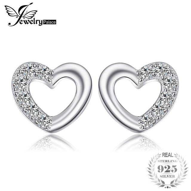 JewelryPalace Heart Love Round Cubic Zirconia Stud Earrings For Women Girls 925