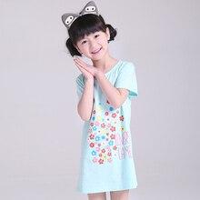 4-15T Cotton Children Girls Nightgowns New Pajama Dress Teenager Homewear Nightdress Kids Sleepwear For Baby Girl Summer Clothes