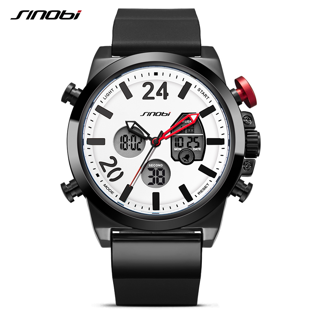 SINOBI Luxury Brand Men Military Sport Watches Men's Digital Quartz Clock Full Steel Chronograph Wrist Watch Relogio Masculino sinobi men s top luxury brand sport watches men led digital waterproof stainess steel quartz watch man clock relogio masculino