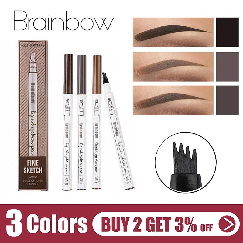 Brainbow Hot Eyebrow Tattoo Smudge-proof Pen Fine Sketch Liquid Microblad Eyebrow Pen Waterproof Tattoo Durable Eye Brow Pencil