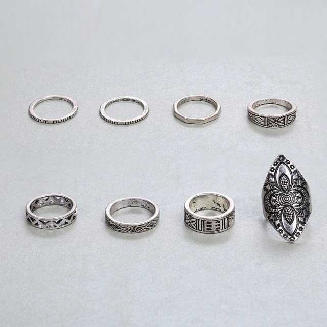 docona Bohemia Style 8pcs/set Antique Silver Rings Classic Pattern Flower Carving RING WOMEN Tribal Knuckle Ring Jewelry 3449 3