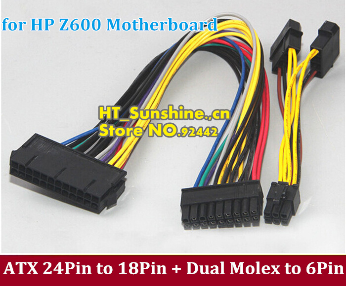все цены на DHL/EMS Free Shipping 18AWG 30cm ATX 24Pin Female to 18Pin Male + Dual Molex to 6Pin Adapter Power Cable for HP Z600 Motherboard онлайн
