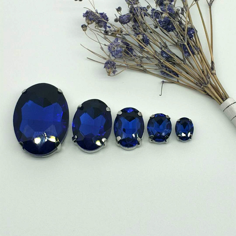 NEW MIX Sapphire blue OVAL Size Crystal Glass Sew on Rhinestones Silver Bottom DIY Women 39 s Dresses and shoes BAG 30pcs 5SIZES in Rhinestones from Home amp Garden