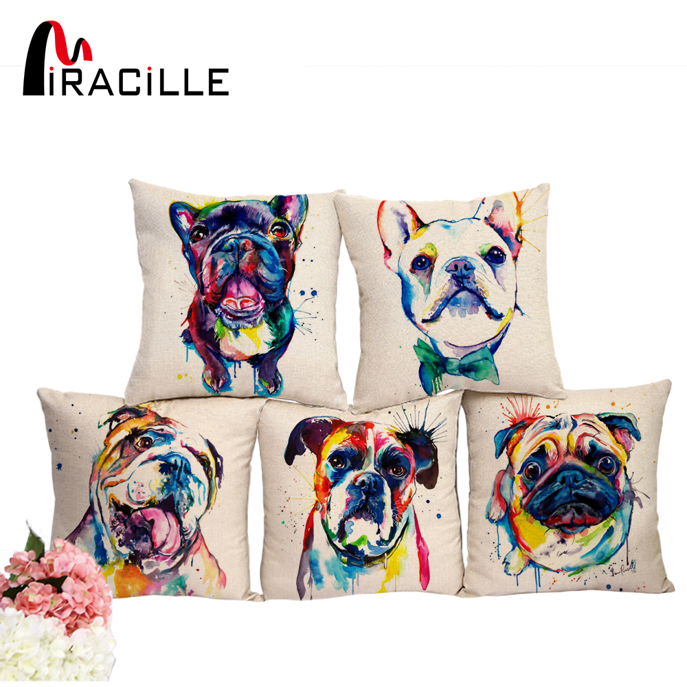 Miracille Square 18 French Bulldog Printed Decorative Sofa Throw Cushion Pillows Pets Dogs Outdoor Living Room Decor
