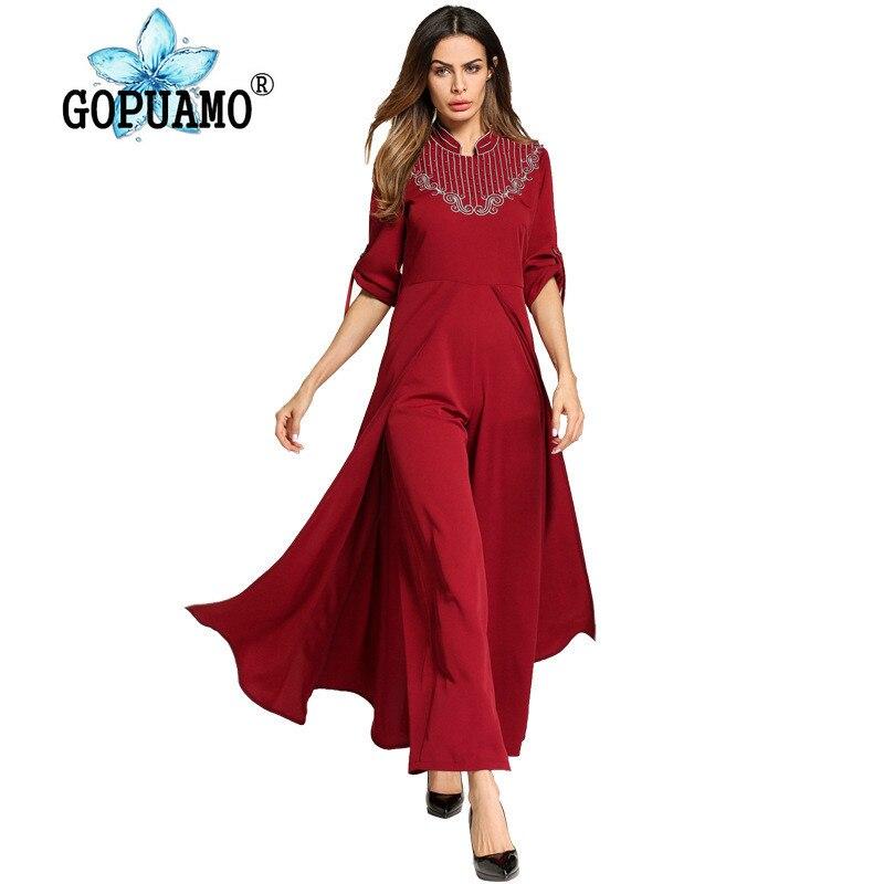 Femmes grande taille vêtements 2018 nouveau Style musulman robe pantalon à manches longues caftan rouge robes islamiques Moslim Jurken fée rêves
