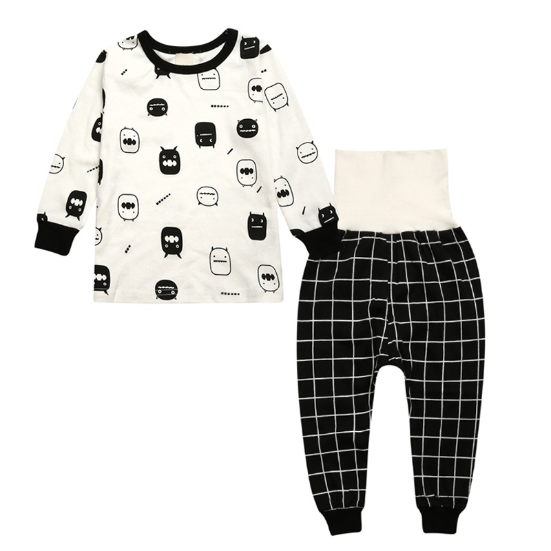 Hot Sale Kids Boys Girls Clothing Sleepwear Pajama Sets Casual Cotton Print O-Neck Pajamas Suits Lovely Children Home Clothes