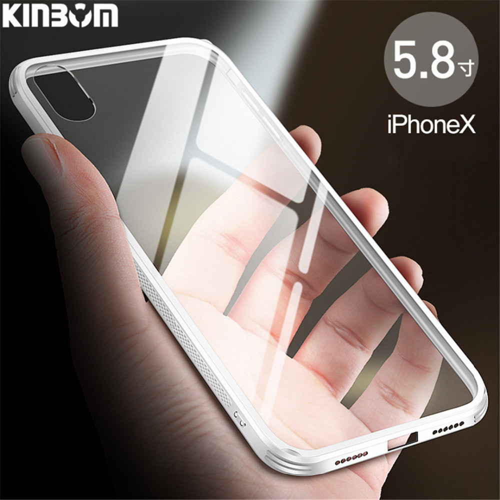 KINBOM Luxury Transparent Tempered Glass Phone Case For Iphone X 7 8plus Pc&Tpu Anti-Knock Mobile Phone Shell For Iphone 6splus
