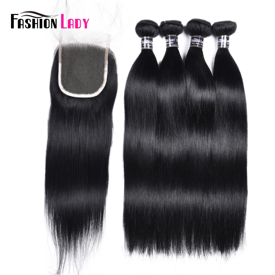 Fashion Lady Pre-Colored 4Bundles Peruvian Straight Hair With Lace Closure 1# Human Hair Bundles With Closure Free Part Non-Remy