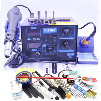 Saike 952D 2 In 1 Hot Air Heat Gun Soldering Iron Rework Solder Station With Gun Holder Stand and Free Gifts for Welding Repair Electric Soldering Irons