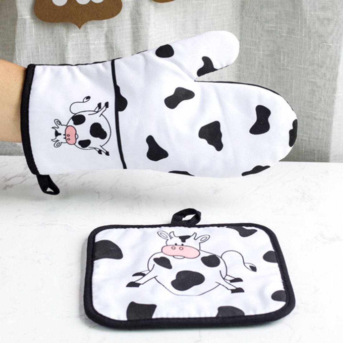 1 Set Dairy Cow Heat Resistant Cotton Glove And Insulation Pot Holder For Microwave Oven And Toaster Kitchen Accessories