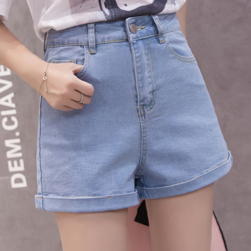 Jean   Shorts   Women Summer High Waist Denim   Short   Feminino Casual Loose Vintage   Short   Jeans Female Black Blue Booty   Shorts   Pockets