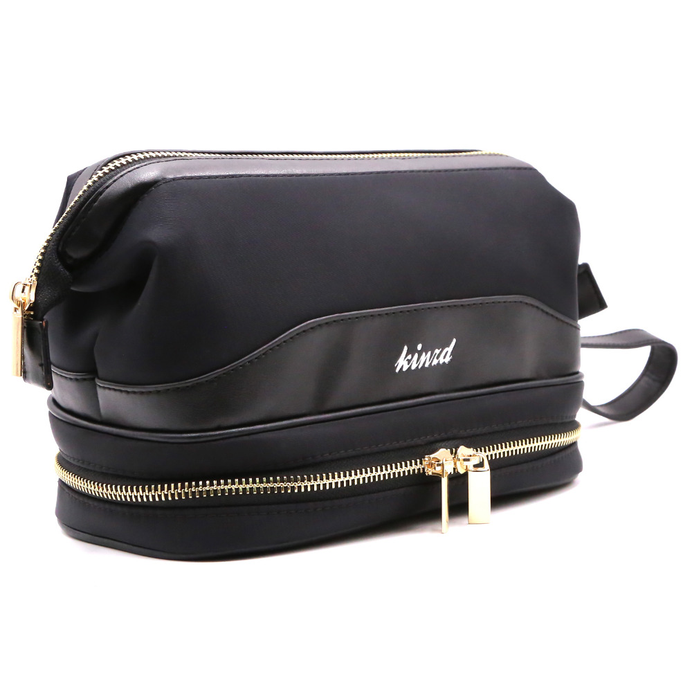 Us 9 99 50 Off Travel Cosmetic Bag For Women Portable Leather Toiletry Hanging Makeup Organizer Double Layer Multiple Compartments In