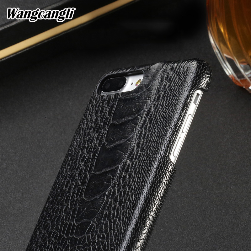 Wangcangli natural Ostrich foot skin phone case for iPhone 7 plus Genuine Leather phone Back shell luxury phone protection caseWangcangli natural Ostrich foot skin phone case for iPhone 7 plus Genuine Leather phone Back shell luxury phone protection case