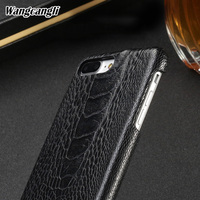 Wangcangli natural Ostrich foot skin phone case for iPhone 7 plus Genuine Leather phone Back shell luxury phone protection case