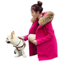 2016 Winter New Big Fur Collar Hooded Woolen Coat Jacket Women Double-breasted Slim Pure Color Elegant Wool Coat Outerwear A1792