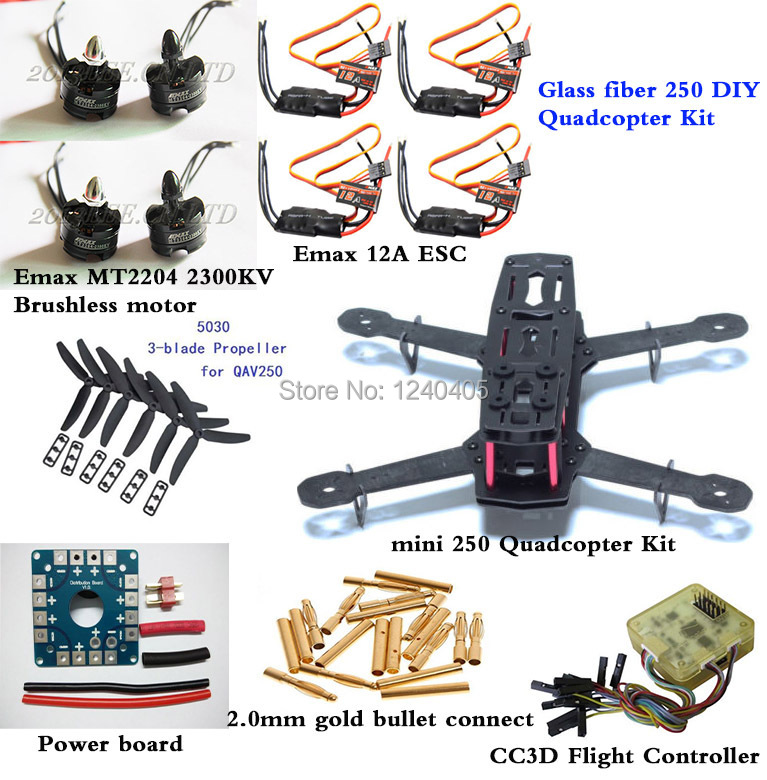 GF mini 250 DIY Quadcopter Kit & Emax MT2204-2300kv Brushless Motor & SimonK 12A ESC & CC3D Flight Controller  &Power board diy qav250 mini quadcopter rc drone radiolink at9 transmitter cc3d flight controller emax 1806 motor simonk esc drones