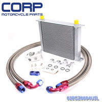 Universal 30 Row JDM Engine Oil Cooler Kit +Remote Oil Filter+AN10 Oil Lines Kit