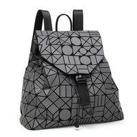 2017 new PVC noctilucent patchwork women backpacks japanese style teenage girls school bags geometric luminous woman backpack