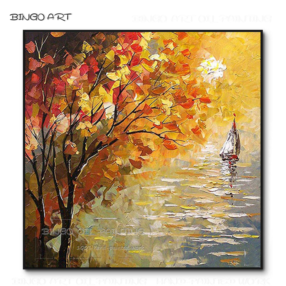 Cheap Price Hand-painted Thick Paints <font><b>Knife</b></font> Landscape Acrylic Painting on Canvas Beauty Wall Art <font><b>Knife</b></font> Landscape <font><b>Boat</b></font> Painting image
