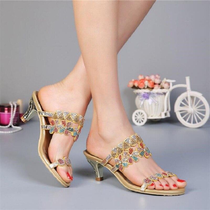 Rhinestone Genuine Leather Kitten Heels Open The Toe Women Summer Slippers Crystal Lady Fashion Slides Plus