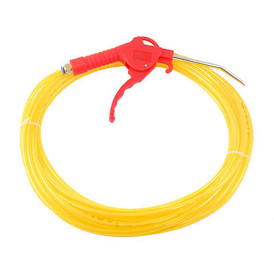 Yellow 6mm x 4mm 10 Meters 32.8Ft PU Hose Pipe Tube w Red Air Blow Gun