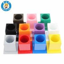 Montessori Set Preschool Teaching Materials Developing Wooden Toys 11 Color Pencil Holders