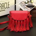 The new spring and summer 2016 fringed Leather Handbag Shoulder diagonal package Korean dumplings leather small bag lady tide