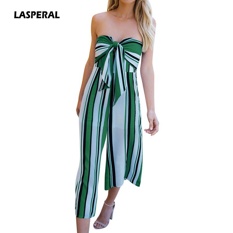 LASPERAL Striped Bow Bandage Summer Jumpsuits Rompers Sexy Loose Backless Overalls Jumpsuit Women Strapless Combined Playsuit