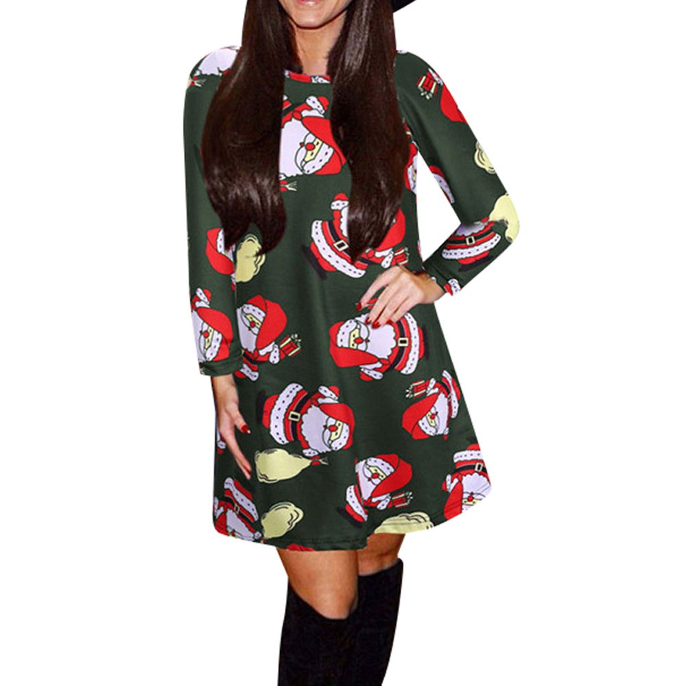 Beautiful cheap Lady Women Long Sleeve Santa Snowman Printing Christmas Party Dress floral dress vestido festa