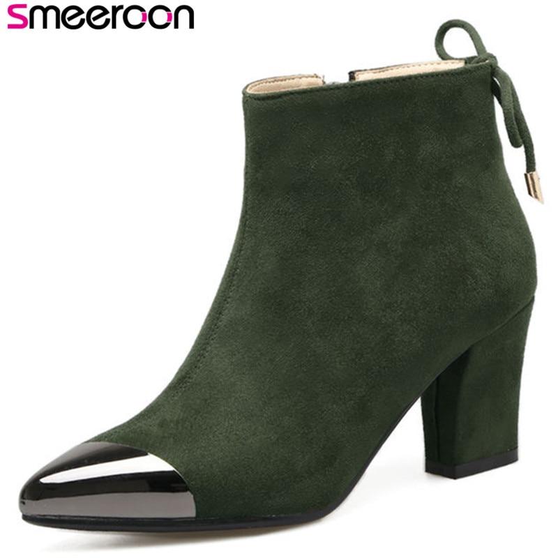 2018 Mode Smeeroon Stiefel High Frauen Winter Herbst Party Schuhe Hohe Spitz Qualität grün Heels Stiefeletten Schwarzes dwqqH4