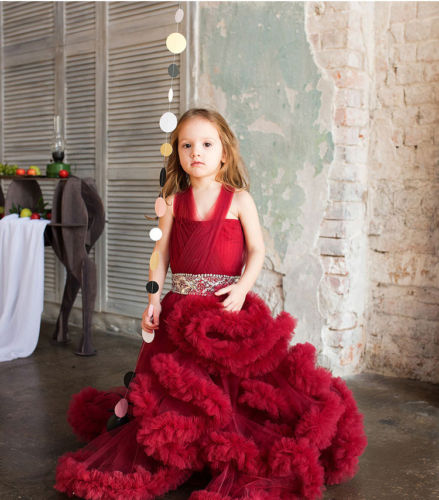 купить Girl Communion Party Prom Princess Pageant Bridesmaid Wedding Flower Girls Dress дешево