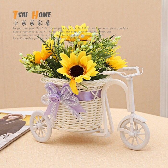 Wicker bicycle flower basket decoration home accessories pen accessories storage desk-2pcs