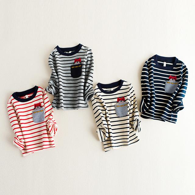 Bebé ropa de los muchachos a rayas camiseta nova niños ropa de moda Del O-cuello niños camisetas chicas gato de la historieta camisetas
