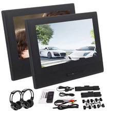 2 Headrest Monitor Rearseat DVD CD Players 1080P Video usb sd Lighter Charger support 32 bit