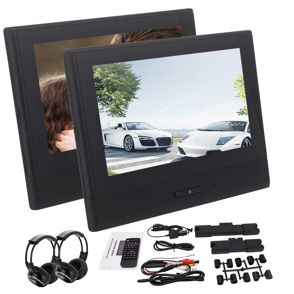 2 Headrest Monitor Rearseat DVD CD Players 1080P Video usb sd Lighter font b Charger b