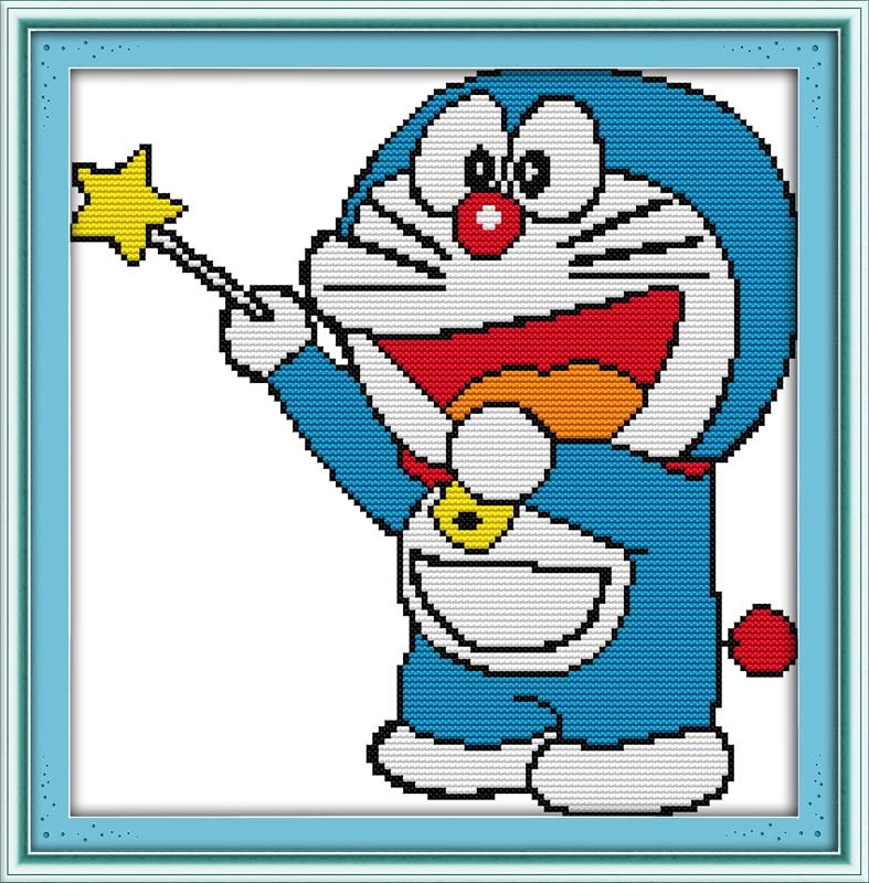 Free Shiping Cartoon Doraemon Counted Printed on canvas DMC 11CT 14CT Cross Stitch kit,needlework Sets DIY embroidery Magic cat