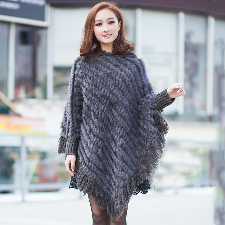 Spring Autumn Winter Lady Genuine Real Knitted Rabbit Fur Poncho Shawls Women Female Party Wrap Pullover femme pashmina capes rabbit print pullover