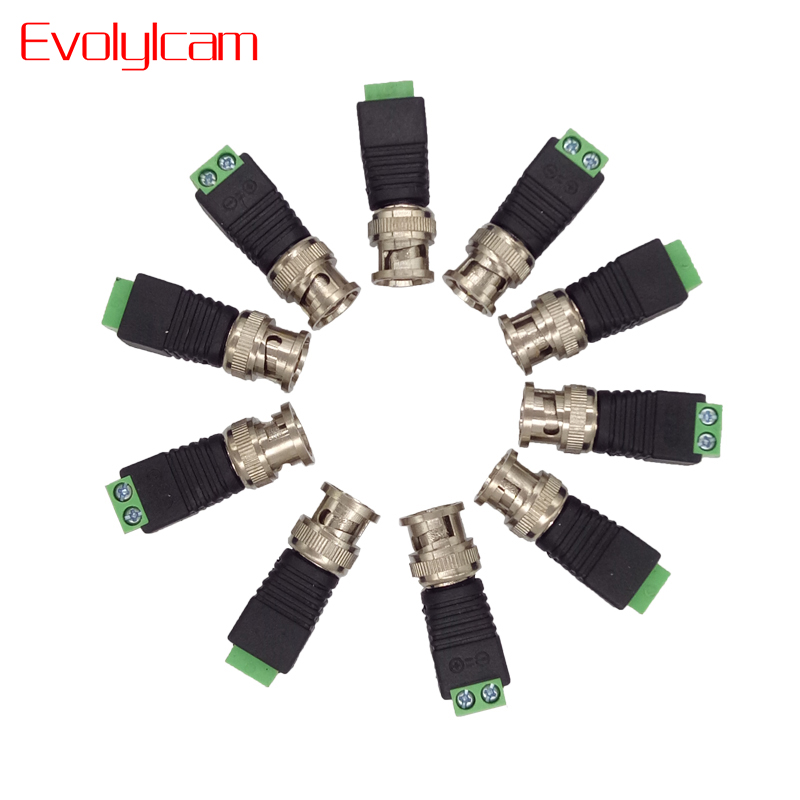 Evolylcam 10pcs Coax CAT5 to CCTV Camera BNC Adapter Converter BNC Connector Plug for CCTV System Surveillance Security Camera 10 pcs lot cctv system solder less twist spring bnc connector jack for coaxial rg59 camera for surveillance accessories